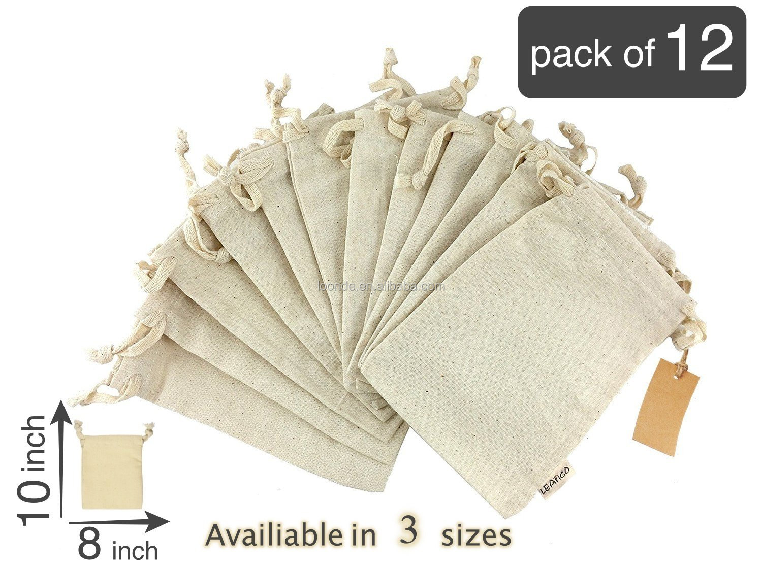 wholesale organic cotton muslin bag drawstring