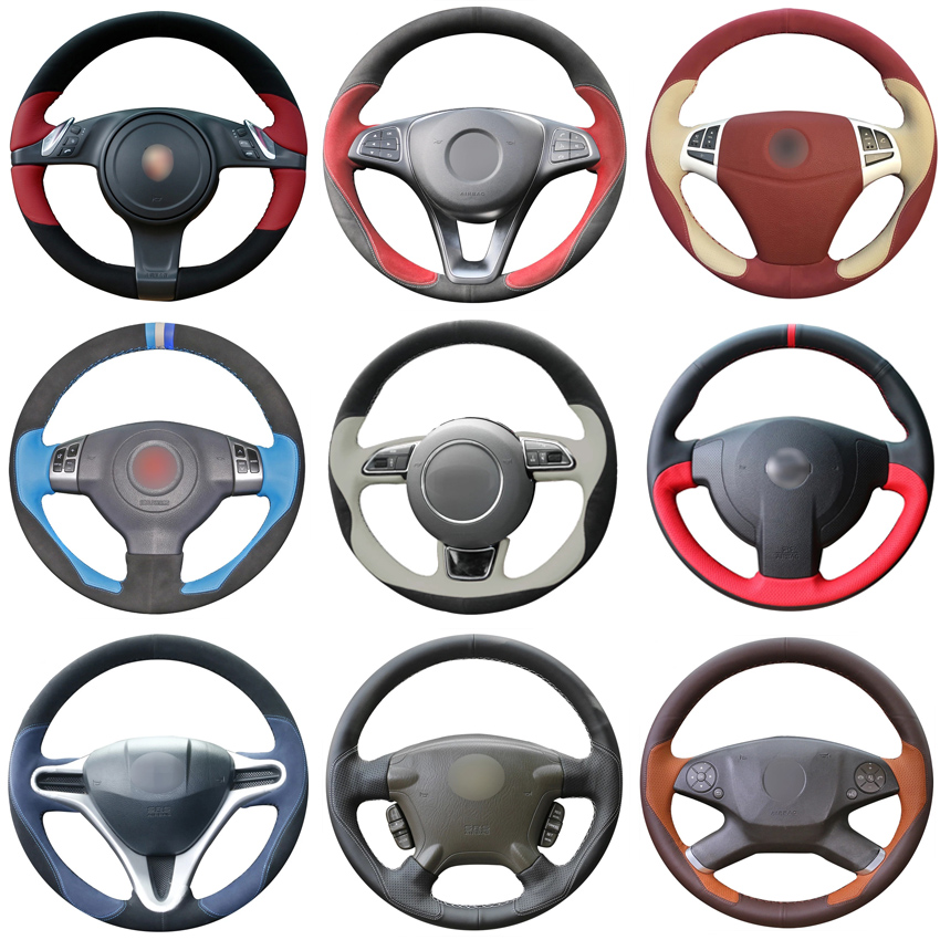 For Renault Scenic 2 2003 2004 2005 2006 2007 2008 2009 Design High Quality Handing Sew Steering Wheel Cover