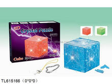 flashing plastic 3D cube crystal blocks mobile phone accessories