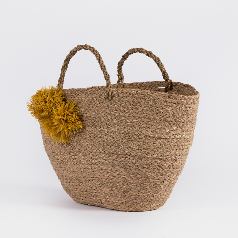 Handmade eco friendly raffia pompoms seaweed handles basket seagrass  storage lady woman summer beach shopping straw tote bag d5443e9932d7b