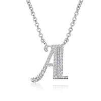 latest design choker necklace 26 capital C letter silver plated initial necklace jewelry zircon diamonds pendant necklace women
