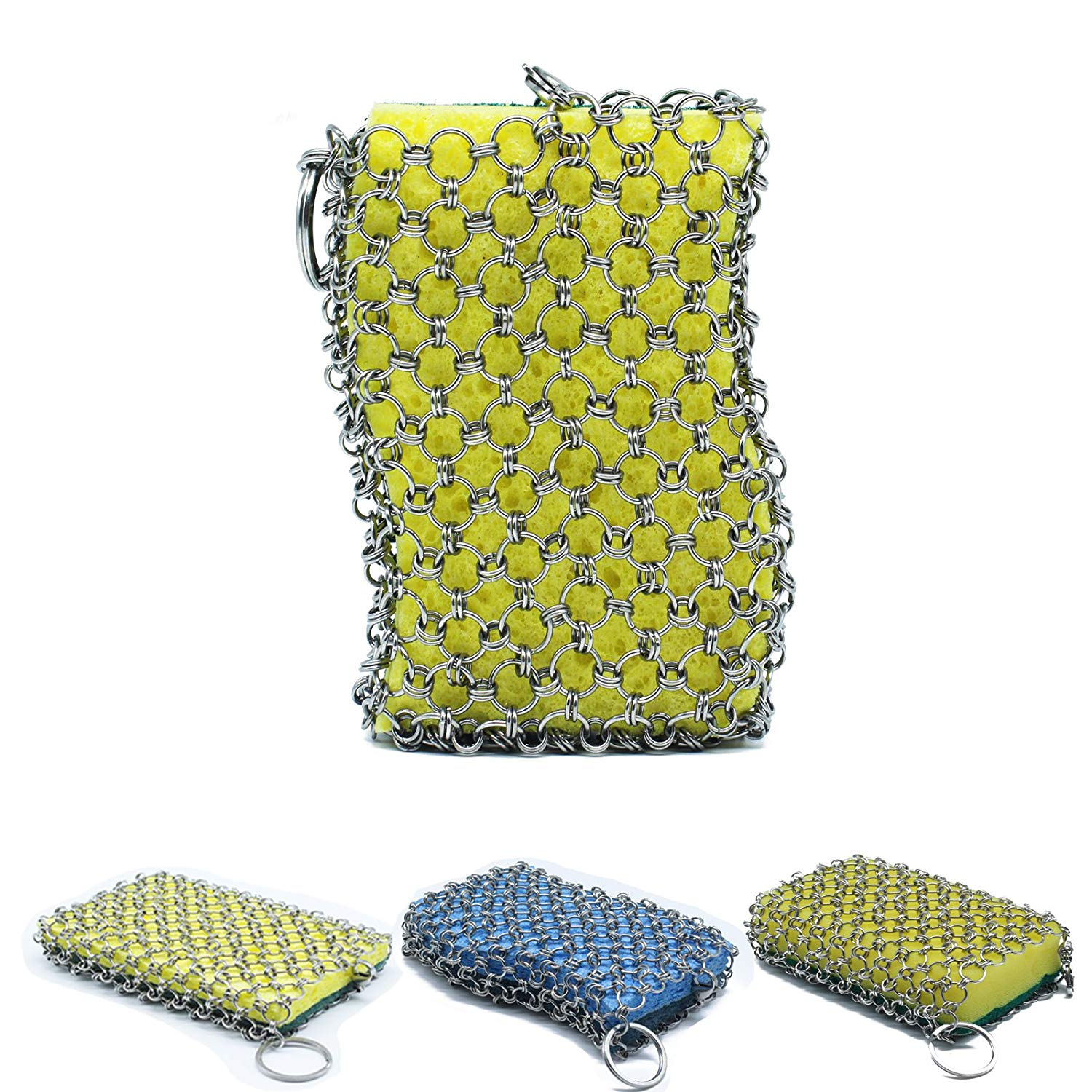 The Original good grips cast iron cleaner with wood pulp sponge, faster Chainmail Scrubber for cast iron skillet,cookware,pan,counters, sinks- oil free,no soap need,pan Scraper for Camping (yellow)