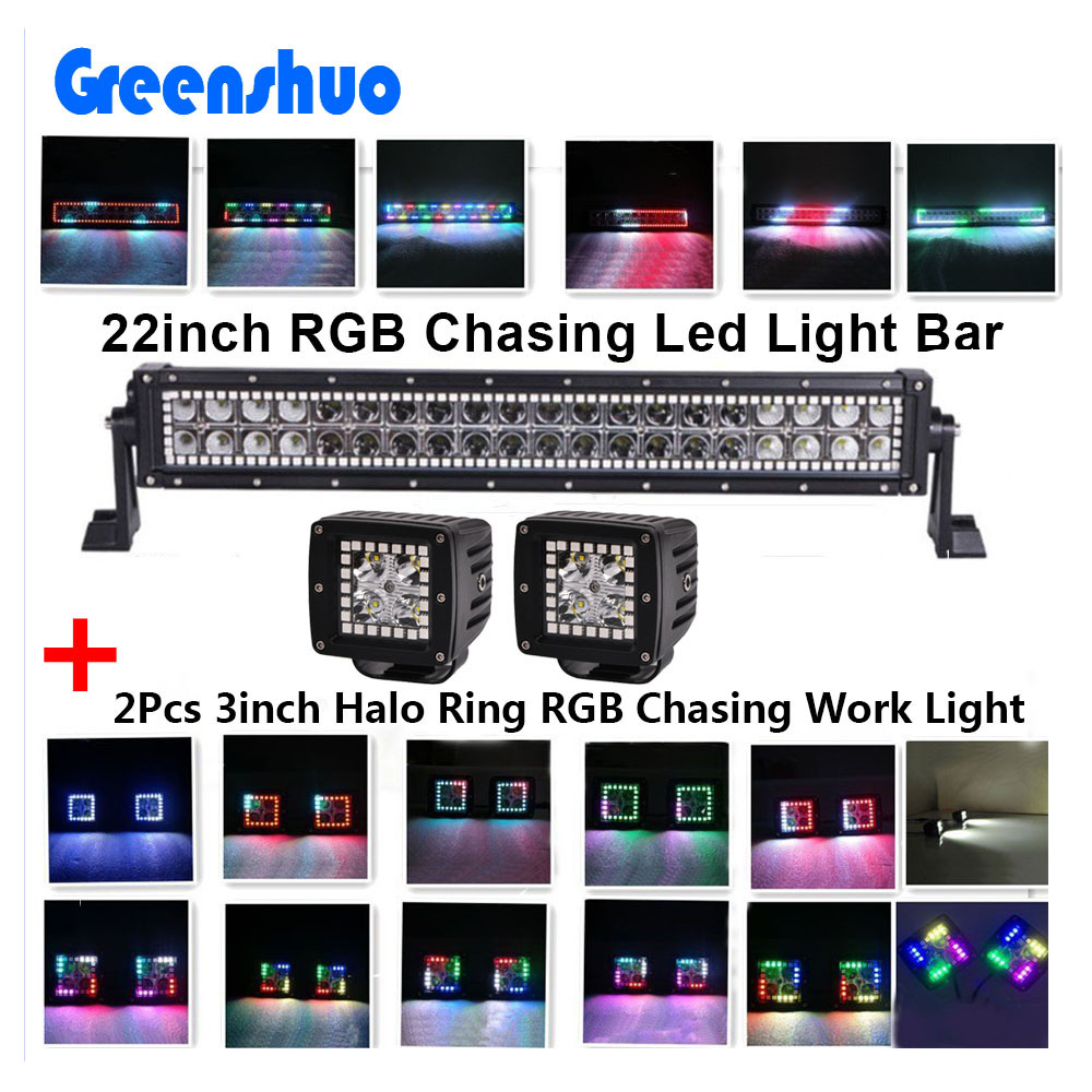 "<strong>Crees</strong> LED Light Bar RGB Chasing halo ring + 2x 3"" Halo Pods Bluetooth Work light"