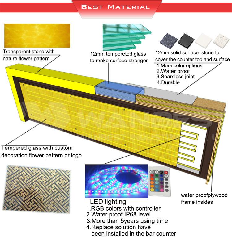 Cheap Artificial Stone Illuminated Outdoor Nightclub Sushi Bar Furniture Counter Table