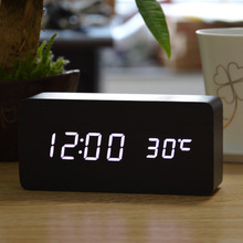 Green LED wooden wood alarm clock + Temperature thermometer voice activated , Battery/USB power /electronic desk clock display