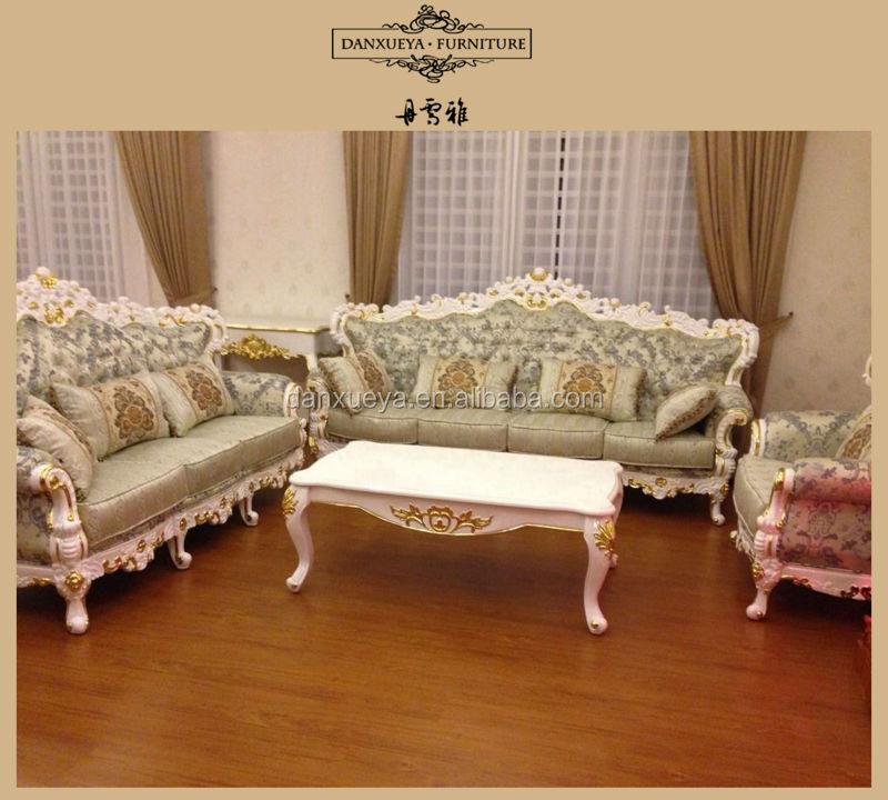 Foshan Fabric Sofa Set , Arabic Majlis Furniture , White Glod Leaf Luxury  Sofa Furniture