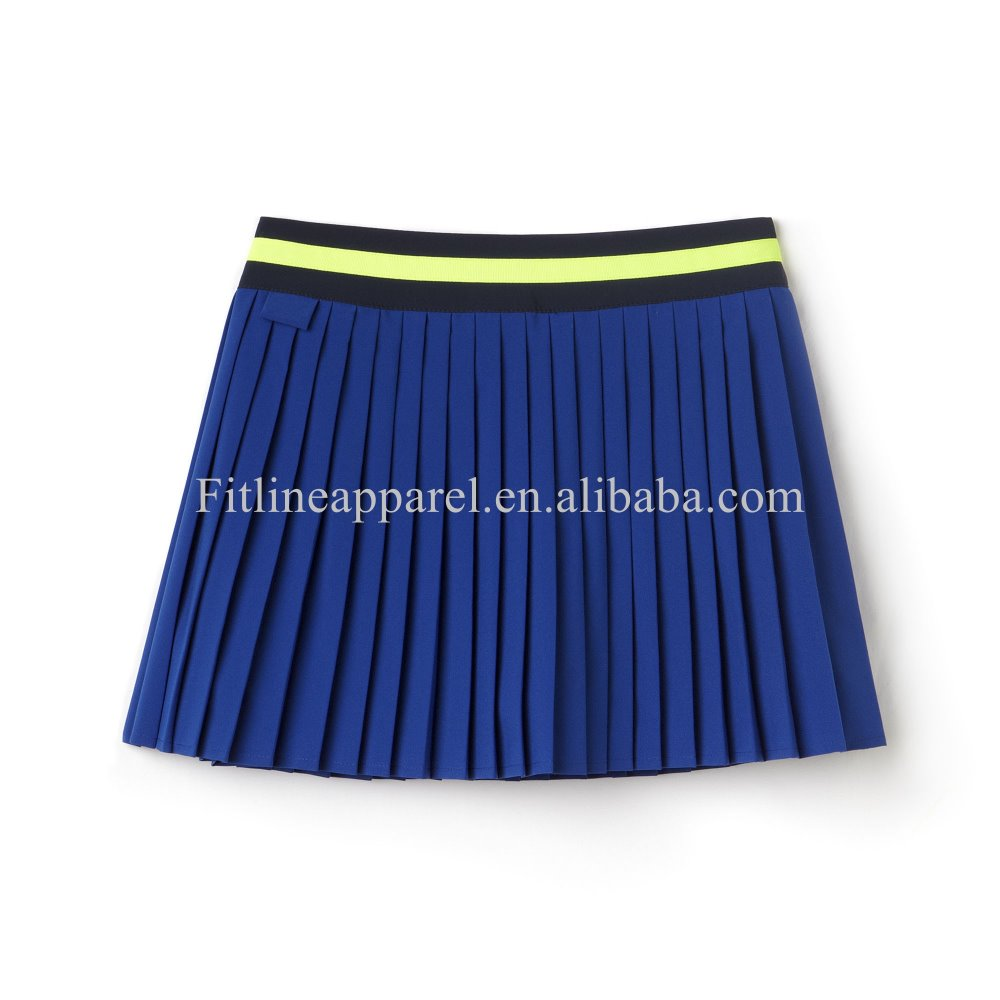 fashion pleated tennis skirts stripe waistband contrast wrinkle short skirts built-in shorts sports pleated skirts