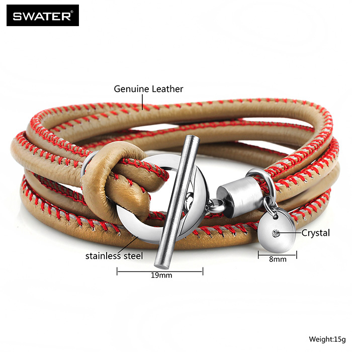 Wholesale Trending Products Toggle Clasp Warp Thick Leather Bangle Bracelets For Women