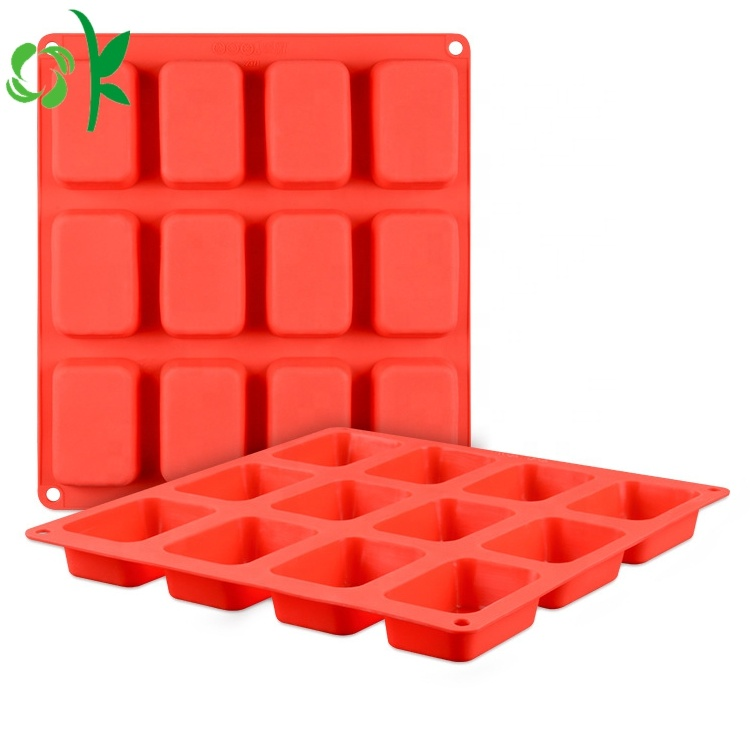 Simple Design Food Grade Silicone Soap 12 Cavity Rectangle Bar Soap Mold Wholesale
