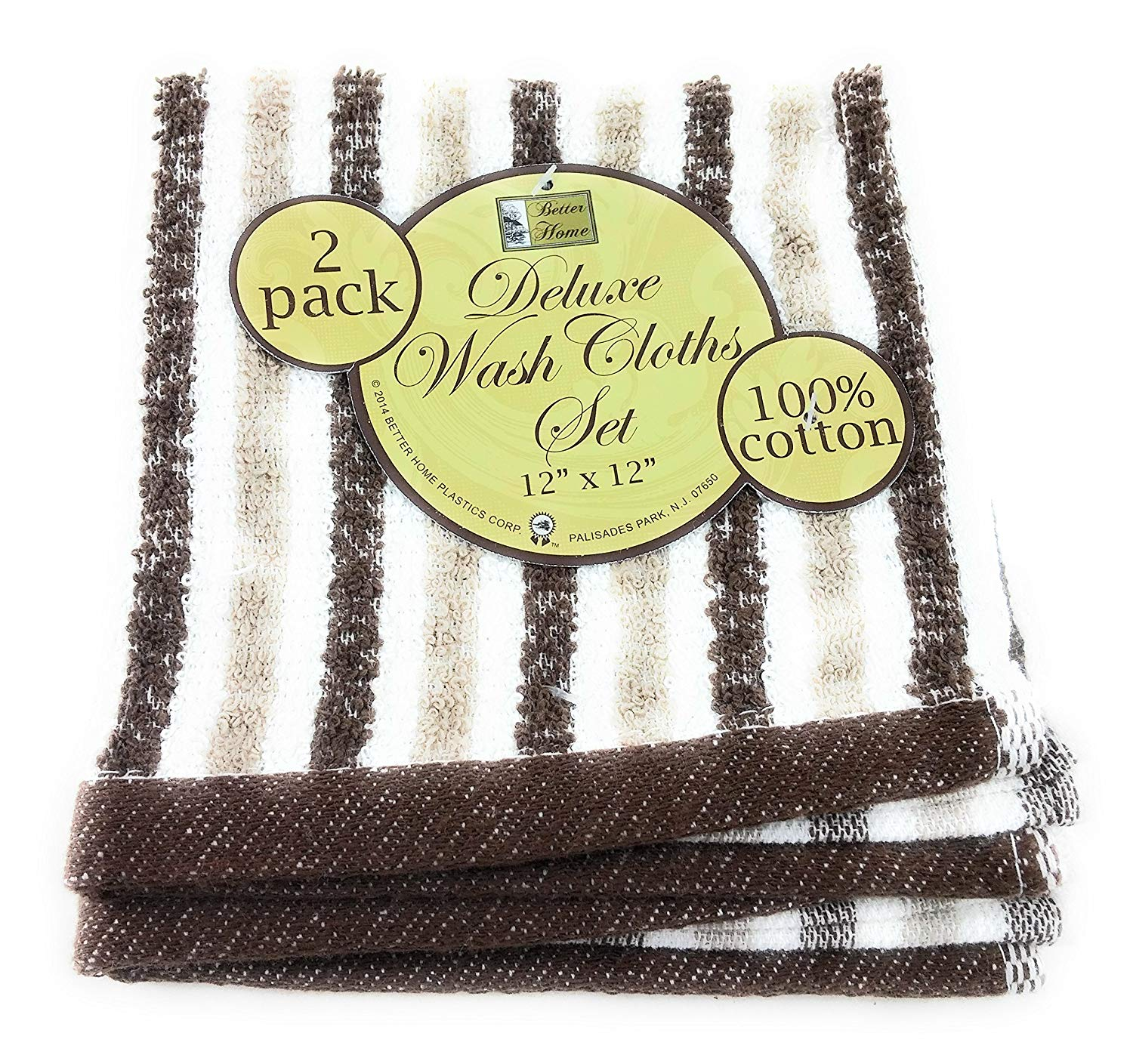2 pack Better Home Cotton Striped Deluxe Wash Cloth (Brown)