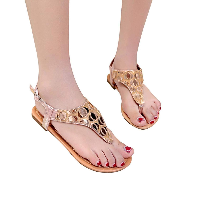 5468130ce9e737 Women Roman Flats Flip Flops Sandals Basic Elastic Band Crystal Bohemian