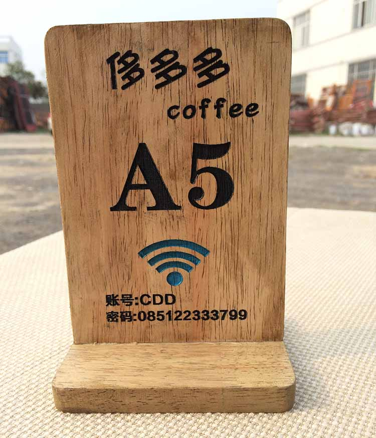 OEM wood menu stand wood menu holder wood table tent