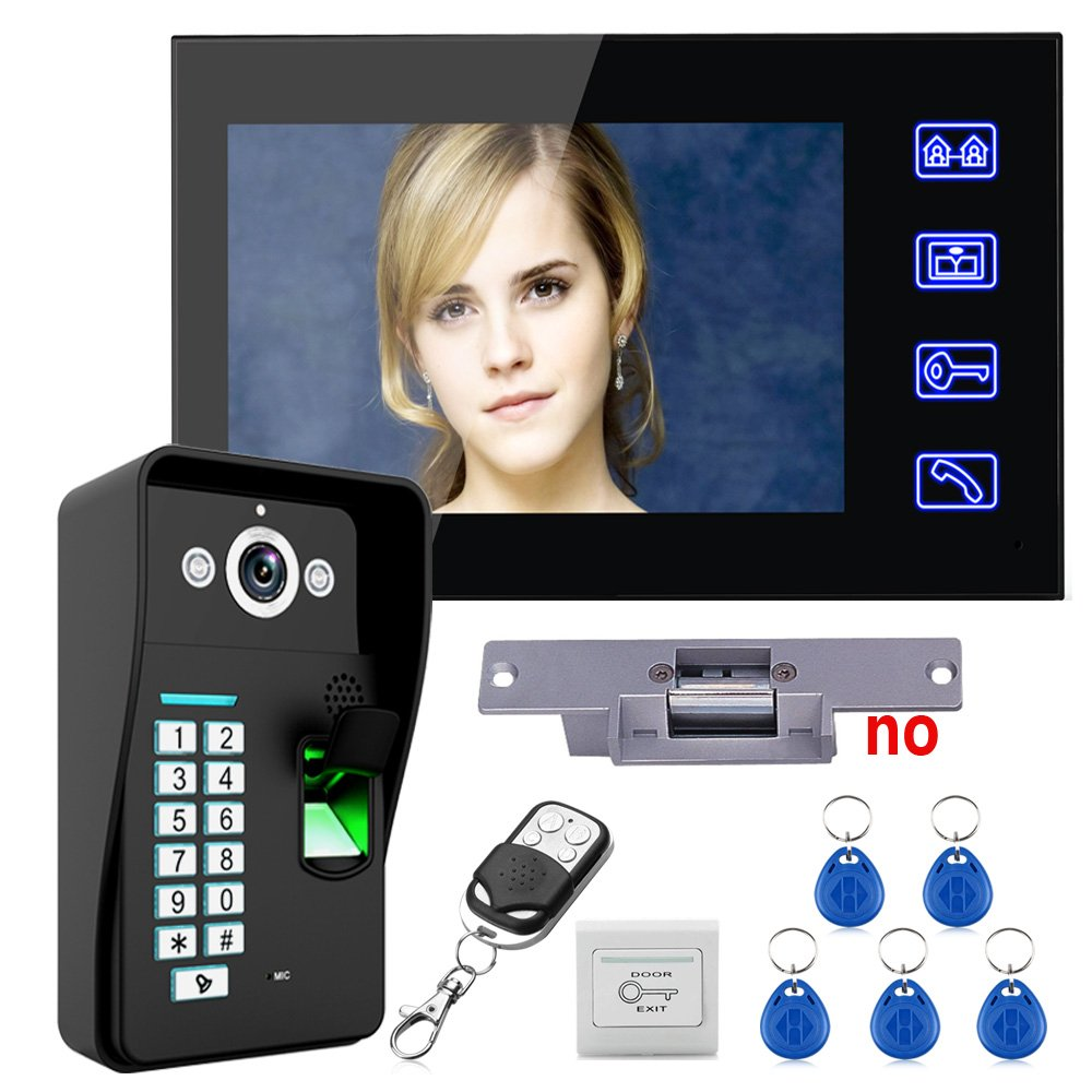 "MAOTEWANG Touch Key 7"" Lcd Fingerprint Recognition Video Door Phone Doorbell Intercom System kit + Electric Strike Lock+ Wireless Remote Control unlock+cable (15m)+Door Lock Access Control System"