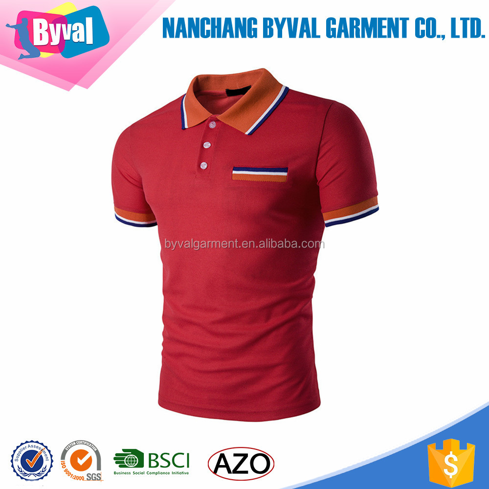 Mens 95 Cotton 5 Spandex Polo Shirts Slim Fitness Color