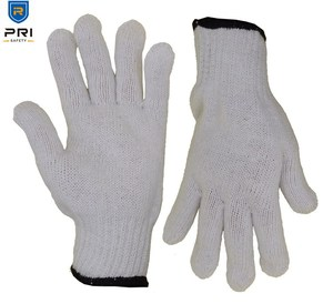 7 Gauge Polyester String Knitted Industrial White Cotton Hand Gloves