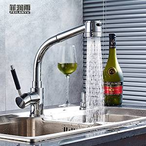 Furesnts Modern home kitchen and bathroom faucet Kitchen faucet pull hot and cold water faucet sink can turn the telescopic Faucet,(Standard G 1/2 universal hose ports)