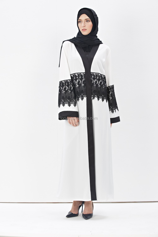 Wholesale 2016 modern muslim factory price white lace dubai front open