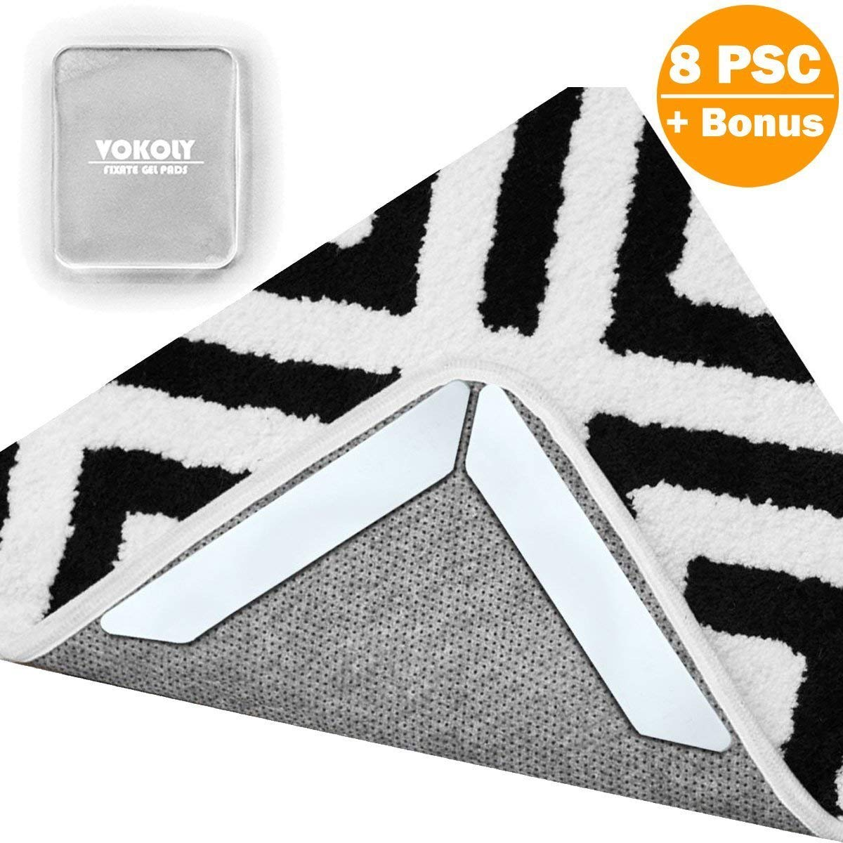 Rug Gripper Non Slip Rug Pad,VOKOLY 8 PCS Removable and Reusable Carpet Gripper Pad Keeps Rugs in Place and Corners Flat, Double Sided Tape Ideal Rug Stopper Work for Indoor, Outdoor Carpet–Washable