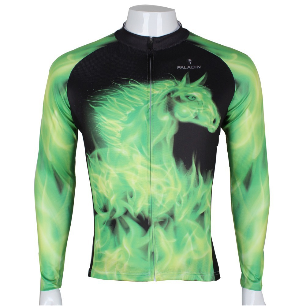 2015 newest high quality spring or autumn Green fire horse long sleeve bicycle clothing men's cycling jersey gear custom