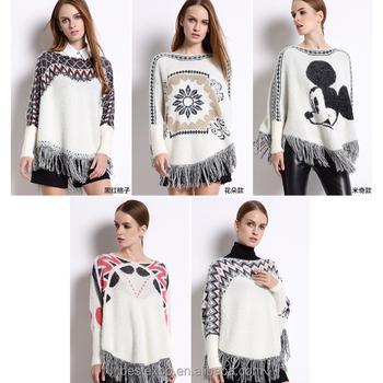 Fashion Knitting Pattern White Fringe Poncho With Sleeve Woolen