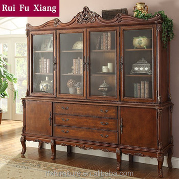 Classic Country Style Wood Book Cabinet With Four Glass Doors And Drawers  And Carvings AI