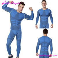 Latest Design Blue Rash Guard Men Fitness Gym Compression Wear