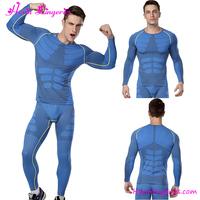 Latest Design Blue Rash Guard Men Fitness Gym Compression Wear