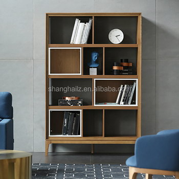 Solid Oak Modern Furniture Design White Library Student Bookshelf Wood Bookcase