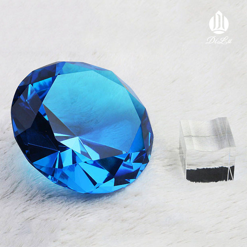 Wholesale Decorative 60mm 80mm 100mm DILU Lake Blue Large Crystal Glass Stone Diamond for Wedding Souvenir Paperweight Table