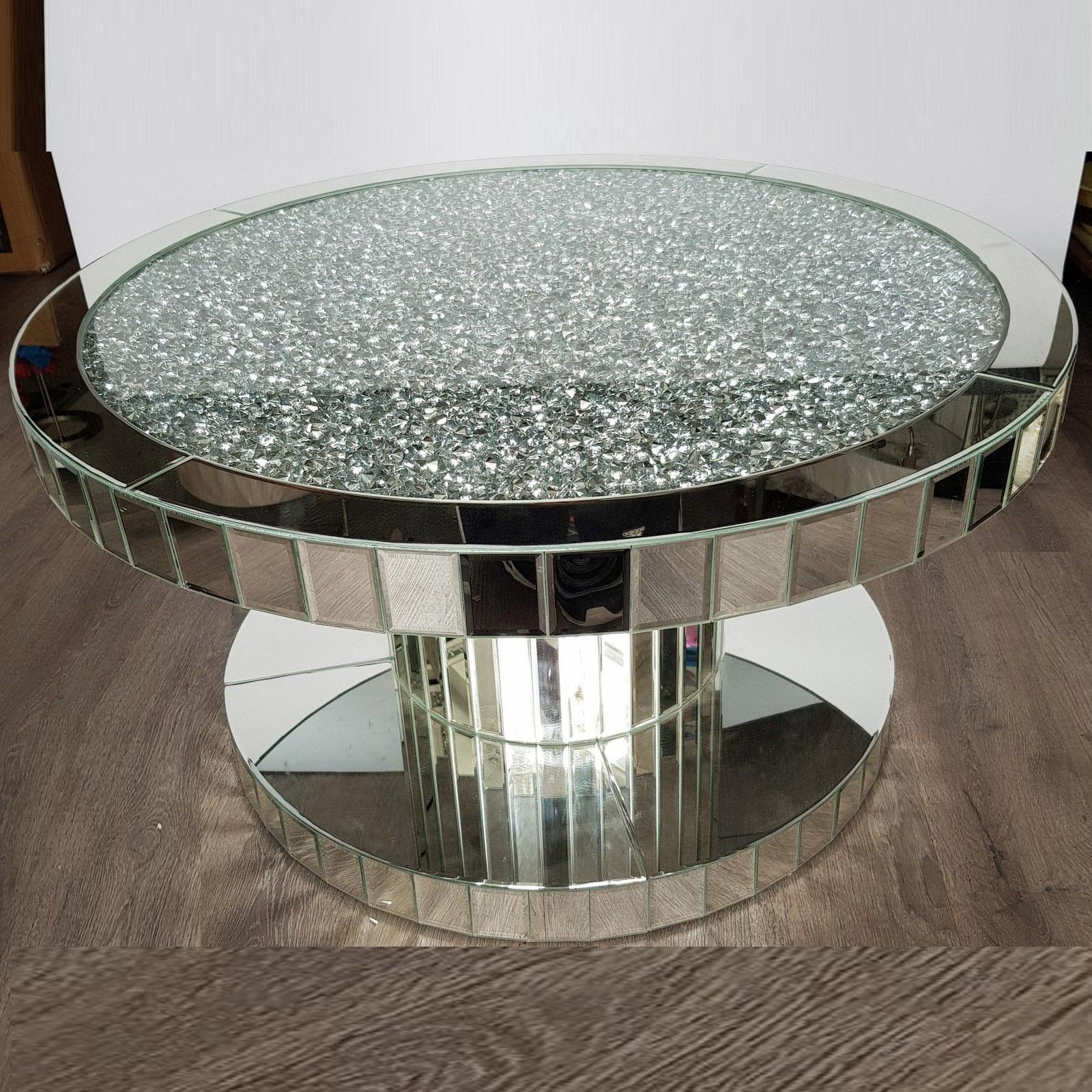 - Crush Diamond Modern Wood Round Mirrored Dining Coffee Table - Buy