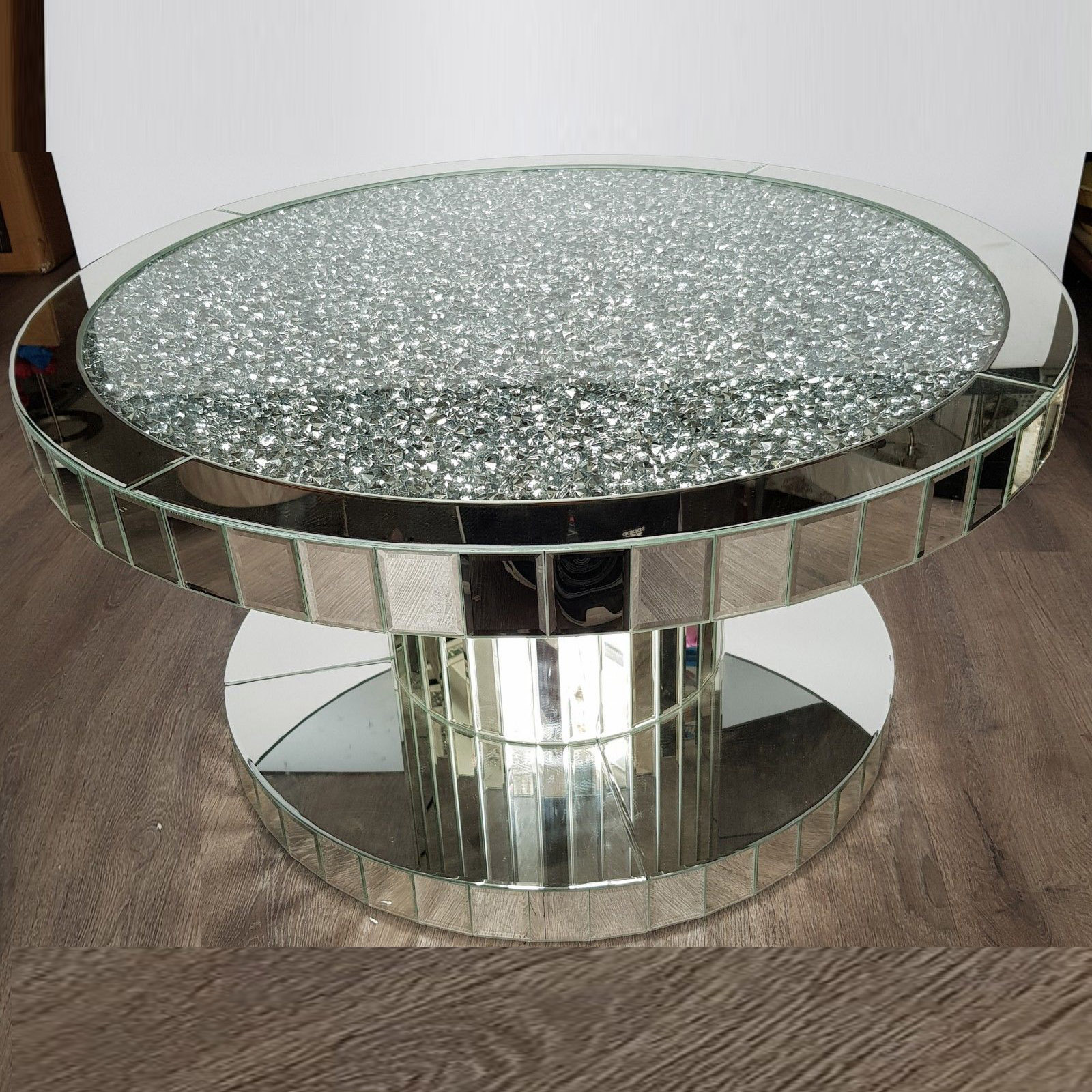 Crush Diamond Modern Wood Round Mirrored Dining Coffee Table
