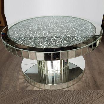 Crush Diamond Modern Wood Round Mirrored Dining Coffee Table Buy