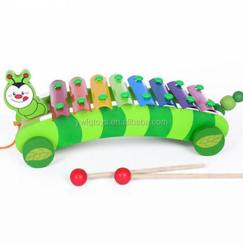 FQ brand multifunction cute wooden xylophone toy wooden block wheels musical instrument