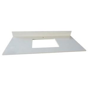Various Edging Shape Nano Glass Countertop With Single Sink Pure White