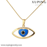 30833 xuping jewelry creative 14k gold evil eye pendant necklace
