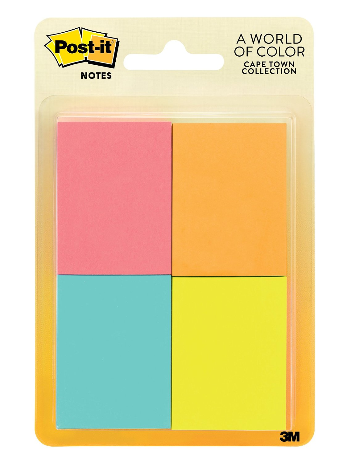Post-it Notes, 1.5 in x 2 in, Cape Town Collection, 8 Pads/Pack (653-8AF)