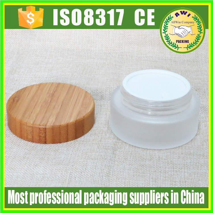bamboo cosmetic jar glass for face cream packing glass jar with lids bamboo and logo