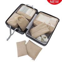 Travelsky OEM 7 Pieces water-resistant luggage travel storage bag organizer packing cube set