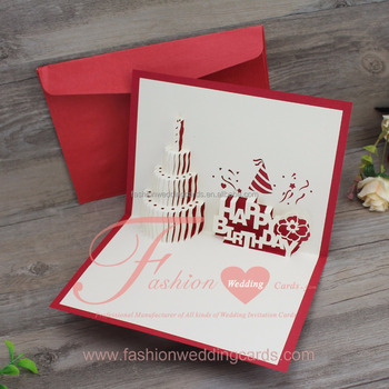3d Pop Up Laser Cut Wedding Invitations Congraduation Birthday Cake Gretting Card