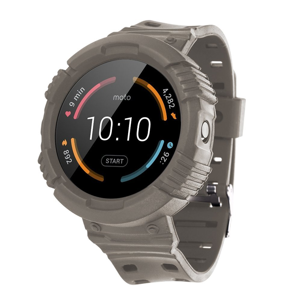 X4-TECH Moto 360 Watchbands,[Rugged Pro] Resilient Protective Case with Strap Bands for Moto360 Smart Fitness Watch,Not forMotorola Moto 360 2nd Gen (Gray)