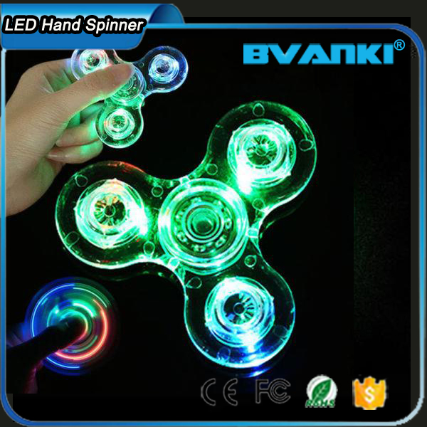 New Line Light 2017 Tri Fidget Spinner For Kids Toys Gift Clear Crystal LED Hand Spinner