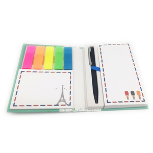 custom mini hardcover notebook combined sticky notes notepad with pen binding notepad glue