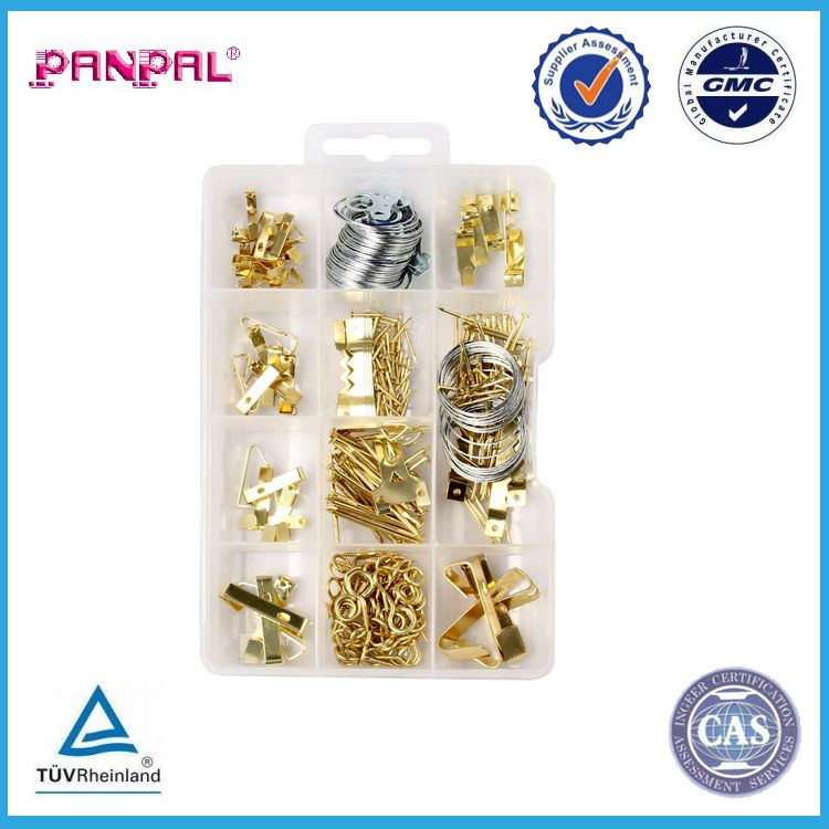 BSCI factory hot sale PP box package 260pcs of assorted sizes picture saw tooth wall hanging hooks with nails