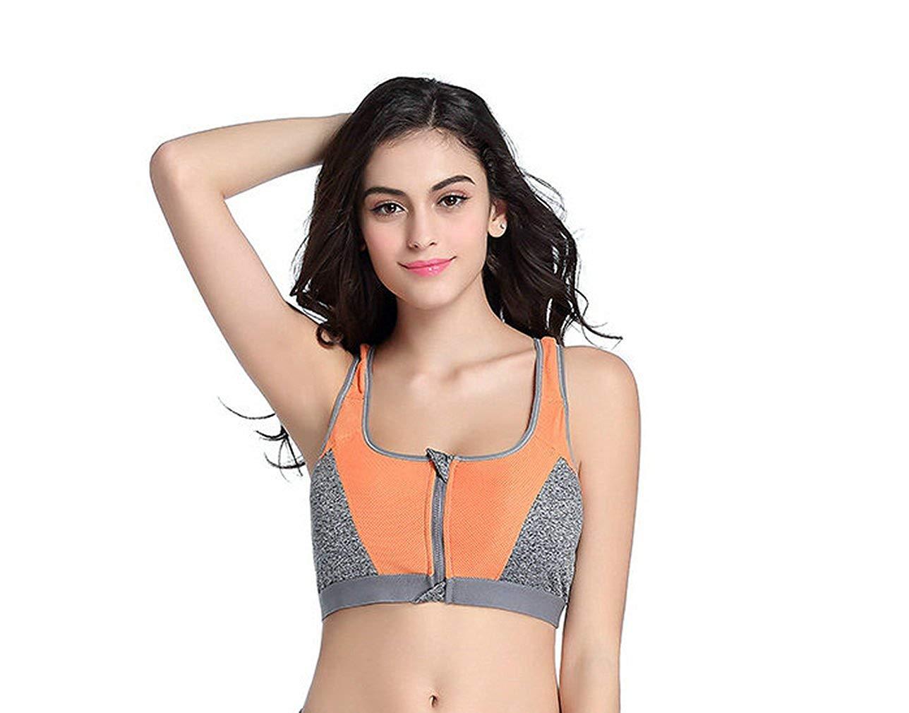 d8d9a0ab83 Get Quotations · CHRISTYZHANG Women s Sports Bras Gym Yoga Top Zipper Front  Breathable Bras Double Wear Bra