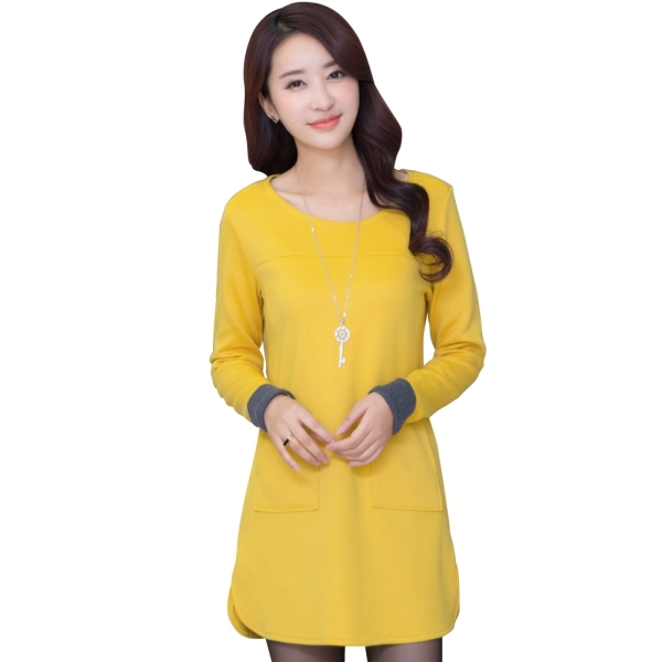 Get Quotations · Korea Style Lady Mini Straight Dress Long Sleeve Style Large  Size M-4XL Slim Fit 3b8961cba6c9