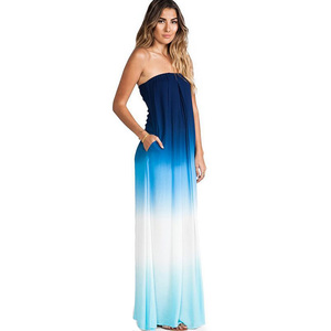 2015 newest tie dye technique bandeau maxi dress nice design fashion formal dress