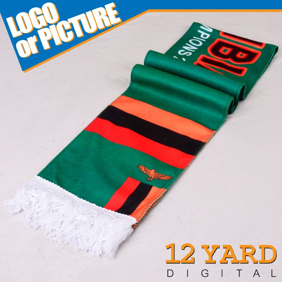 Wholesale Africa Cup Zambia national football anniversary scarf plain blue polyester scarf