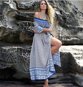 X82905B wholesale women clothing fashion off shoulder full sleeve ladies  beach dress 70133c272