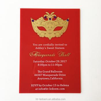 unique design 5x7inch red acrylic birthday invitation card