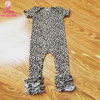 6e340630e2a6 Short Sleeve Long Leg Baby Romper Boutique Leopard One Piece ...